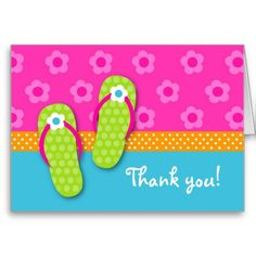 card summer Flip Flop Pool Party Folded Thank you note seaside beach seaside fun relax enjoy flipflops