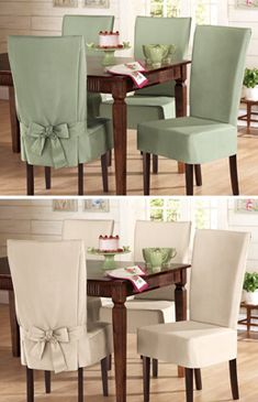 Sure- Fit Cotton Dining Chair Slip Covers - These look nice and would be a nice cover to all that my kids have dropped/spilled on my chairs...LOL