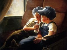 Heartwarming Childhood Paintings : Little Engineers , Early Childhood 28 painting_children_childhood_kjb_DonaldZolan_20LittleEngineers_sm - Wallcoo.net