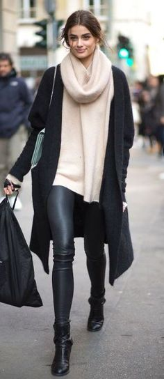 cozy fall outfit / cashmere scarf + nude sweater + black coat + bag + leggings + boots