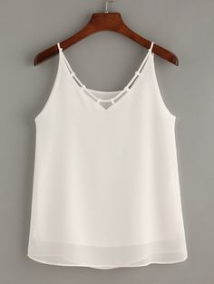 Casual Cami Plain Regular Fit Spaghetti Strap White Crisscross Chiffon Cami Top with Lining Chiffon Cami Tops, White Chiffon, Mode Bollywood, Diy Kleidung, Diy Vetement, Mode Top, Ladies Dress Design, Fashion Outfits, Fashion Fashion