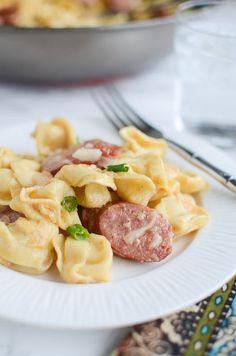 Delicious and fast Cajun Tortellini Alfredo recipe - tortellini and smoked sausage in a delicious creamy alfredo sauce!