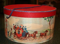 Rare Colorful Vintage Stage Coach Themed Hat Box by Bluebonnetsetc,