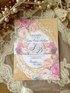 WEDDING INVITATION Suite Sample - Unique, Custom Designed Wedding Invitation Suite. Shabby Chic, Vintage, Rustic Inspired on Etsy, $5.00