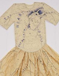 """Lesley Dill - Poem Dress of Circulation (1994) Multimedia assemblage lithographed 48"""" x 40"""" x 10"""" (detail)"""