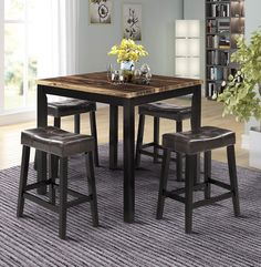 Looking for Merax Solid Wood Dining Table Set Kitchen High Pub Table Set 4 Bar Stools (Brown) ? Check out our picks for the Merax Solid Wood Dining Table Set Kitchen High Pub Table Set 4 Bar Stools (Brown) from the popular stores - all in one. Bar Height Table, Counter Height Dining Table, Solid Wood Dining Table, Modern Dining Table, Dining Table In Kitchen, Dining Room Chairs, Dining Room Furniture, Brown Furniture, High Dining Table Set