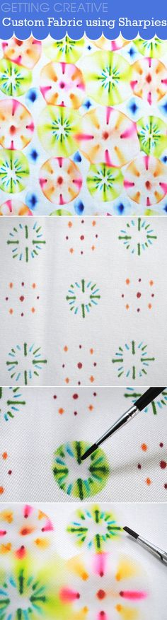 Create custom fabric using sharpies and rubbing alcohol. Full photo tutorial and great selection of patterns for inspiration