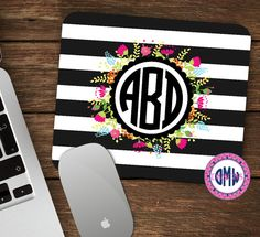 Rugby stripe mouse pad with a touch of whimsy for an added chic touch to your desk accessories. Large surface area -- ideal for all mouse types.