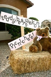 Teddy Bear Picnic.. something along the lines of this set up for photos. not hay though.