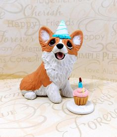 Corgi Birthday party Corgi  art Sculpture Polymer Clay by