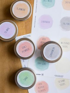 Beautiful DIY color-coded spice jars from Spoon Fork Bacon. They used Avery Labels for the free printables, so they're simple to customize. There's a rectangle version as well. Spice Jar Labels, Spice Jars, Pantry Labels, Storage Hacks, Food Storage, Storage Solutions, Kitchen Storage, Storage Ideas, Spoon Fork Bacon