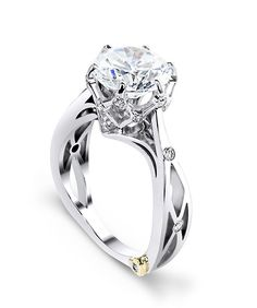 14k White Gold Sacred Engagement Ring With a Trelis Style Basket Head and Side Shank With Bezel Set Round Cut Diamond Accents For a 1.0ct 6 Prong Set Round Cut Center Stone