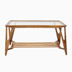 Mid-Century Italian Walnut Coffee Table by Cesare Lacca, for Shop with global insured delivery at Pamono. Rattan, Shelves For Sale, Mid Century Modern Desk, Coffee Tables For Sale, Mid Century Coffee Table, Walnut Coffee Table, Decoration, Vintage Designs, Teak