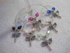 Stylized dragonfly wine glass charm set. Mug by ArtsParadis, $15.00