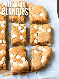 My kids beg for white bean blondies and devour the whole pan. Fine by me, they're naturally sweetened, healthy, made mostly of beans and really good! :: DontWastetheCrumbs.com