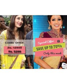Combo Offer Of Designer Bollywood Embroidered Yellow Suit And Cream Saree