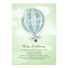 Stylish Hot Air Balloon Boy Baby Shower Invite Cards