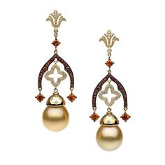 Couture yellow gold earrings with South Sea pearls, orange sapphires and diamonds