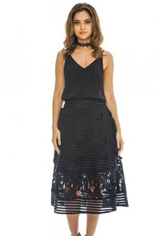 70b87f18757 AX Paris Women s 2 in 1 Midi Dress with Lace Skirt - Online Exclusive