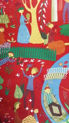 Stig Lindberg fabric Lustgården made in Sweden by RandigaTraden