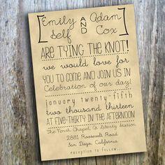 Printable Wedding Invitation // Hand Drawn, Rustic, Casual // Custom, DIY. $25.00, via Etsy.