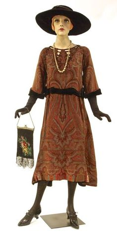 Old Fashioned Clothes : Dress made from Paisley shawl, velvet trim, unlabelled, American, c. 20s Fashion, Fashion History, Art Deco Fashion, Retro Fashion, Vintage Fashion, Fashion Outfits, Vintage Dresses, Vintage Outfits, Vintage Clothing