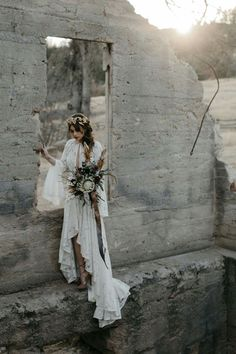 a boho lace wedding dress with a plunging neckline, bell sleeves, a high low skirt with a train for a boho look Elopement Wedding Dresses, Elope Wedding, Wedding Poses, Boho Wedding Dress, Wedding Shoot, Dream Wedding, Lesbian Wedding, Wedding Ideas, Bohemian Wedding Inspiration