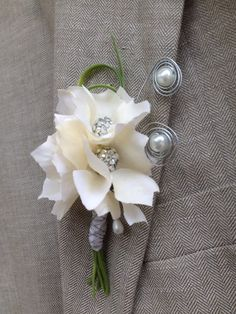 Brooch Boutonniere White Ivory Boutonniere by BellasBloomStudio