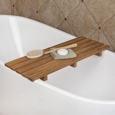 Teak Wood Bathtub Shelf
