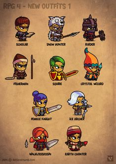 Cartoon RPG Characters 4 on Behance Simple Character, Game Character Design, Character Concept, Character Art, Game Concept, Concept Art, Game Design, 2d Game Art, Fantasy