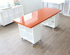 The Best IKEA Craft Room Tables and Desks Ideas - Jennifer Maker - Sewing room - Obtain the most effective ideas for making your own craft table and desks that fit any area and sto - Craft Room Storage, Craft Tables With Storage, Craft Room Desk, Sewing Room Organization, Diy Storage, Storage Ideas, Office Storage, Cube Storage, Workbench Organization