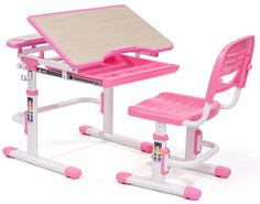 Children's Desk and Chair, Tilt & Height Adjustable, Rectangle, Slide Out Tray - Pink