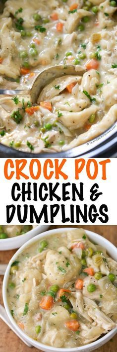 Easy Crock Pot Chicken and Dumplings. Juicy chicken breasts cook to tender perfection in the slow cooker in a rich creamy sauce. Shortcut dumplings are added in for a delicious comforting meal with very little effort. This is one family recipe everyone wi Slow Cooker Huhn, Crock Pot Slow Cooker, Slow Cooker Chicken, Slow Cooker Recipes, Cooking Recipes, Crockpot Recipes, Chicken Recipes, Chicken Soup, Cracker Chicken