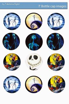 Free The Nightmare before Christmas digital bottle cap images       - You can print and use them for your art project, Stickers, Hair Bo...