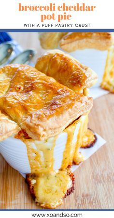 This delicious vegetarian pot pie recipe is made with an ooey, gooey broccoli cheddar filling then topped with a puff pastry crust and baked to perfection. Vegetarian Casserole, Vegetarian Comfort Food, Vegetarian Side Dishes, Vegetarian Recipes Easy, Soup Recipes, Yummy Recipes, Recipies, Dinner Recipes, Puff Pastry Recipes