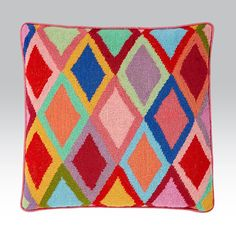 Bordered Diamonds - Ehrman Tapestry, bright summery colours are celebrated in this bright diamond design from Kaffe Fassett. Needlepoint Belts, Needlepoint Designs, Bargello Needlepoint, Needlepoint Pillows, Tapestry Online, Pillow Inspiration, Diy Pillows, Cross Stitch Designs, Basket Weaving