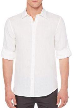 24227477df Perry Ellis Men s Roll Tab Sleeve Linen Shirt Men - Casual Button-Down  Shirts - Macy s