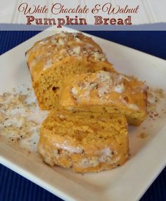 White Chocolate & Walnut Pumpkin Bread Recipe: 2 1/4 cups all purpose flour, 1 cup sugar, 1 1/2 tsp baking powder, pinch of salt, 15 oz Libby's Canned Pumpkin, 1/3 cup milk, 2 eggs, 1/2 cup white chocolate chips, 1/2 cup chopped walnuts, powdered sugar and milk for glaze #PumpkinCan