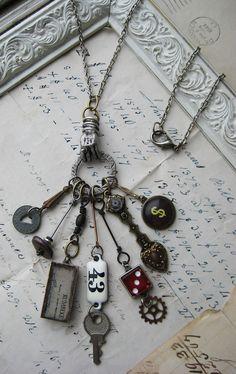 Chatelaine Style Steampunk Necklace by Noble Studios Ltd Cute Jewelry, Boho Jewelry, Jewelry Crafts, Jewelry Art, Beaded Jewelry, Handmade Jewelry, Jewelry Design, Jewelry Model, Modern Jewelry