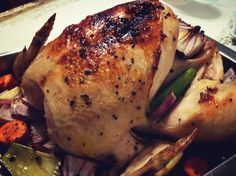 Perfect Juicy Roasted Chicken with Mirepoix.