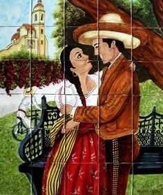 "A rustic tile mural looks pretty on a kitchen wall backsplash, bathroom wall or table-top. Romance In the Village mural sku 19005 is available in custom dimensions. rustic tiles can be also installed in swimming pools, fountains and outside of the buildings. Tile Mural ""Romance In the Village"" by Rustica House. #RusticaHouse"