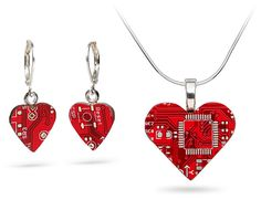 ThinkGeek :: Tech Love Circuit Board Jewelry - Necklace and matching earrings. Perfect for Valentine's Day *hint*hint*