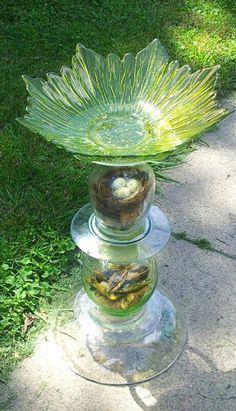 Repurposed glass birdbath