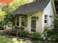 Tiny sweet stone cottage or she shed ~ Great pin! For Oahu architectural design visit http://ownerbuiltdesign.com