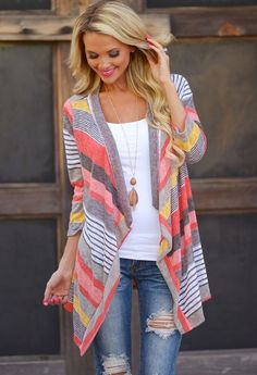 Red Striped Print No Button 3/4 Sleeve Loose Fashion Cardigan