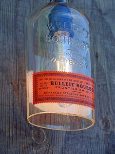 Bulleit Pendant Light Shade | Looking Sharp Cactus – Looking Sharp Cactus LLC Bottle Candles, Bottle Lights, Liquor Bottles, Bottle Lamps, Diy Candles, Glass Bottle, Plug In Pendant Light, Pendant Light Fixtures, Bulleit Bourbon