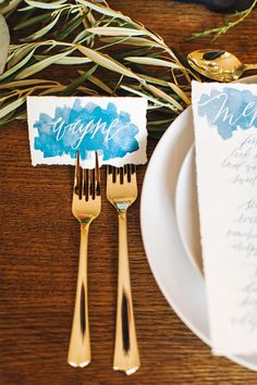 Watercolor place cards: http://www.stylemepretty.com/living/2014/11/12/a-perfect-holiday-tablescape-with-pier-1-imports/