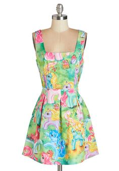 My Little Pretty Dress. Youve nailed a whimsical, wonderful look - centered on this nostalgic My Little Ponies dress! #gold #prom #modcloth