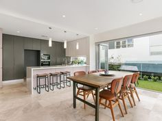 I love these chairs and the way they work with natural stone floors, green grass outside and grey of the kitchen cabinets. KyeCreations Styling with Valiant Hire.