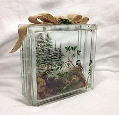 76 best images about Glass Blocks Glass Containers, Glass Jars, Painted Glass Blocks, Hand Painted, Pinterest Christmas Crafts, Christmas Glass Blocks, Scented Pinecones, Glass Block Crafts, Wholesale Crafts